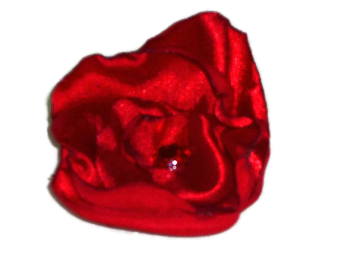Sparkly Ruby Red Satin Flower Brooch Lapel Pin Hair Clip B101 - fostersbeauties