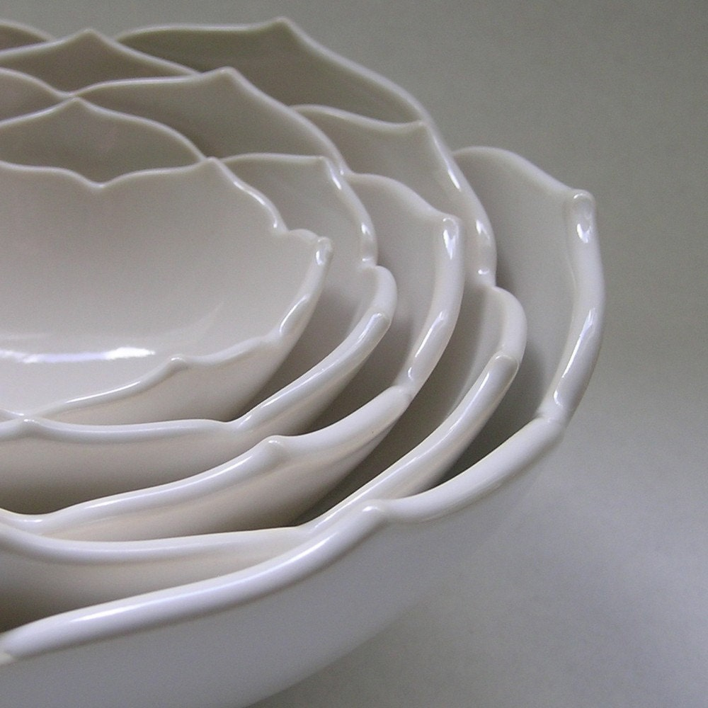 Five Nesting White Ceramic Lotus Bowls