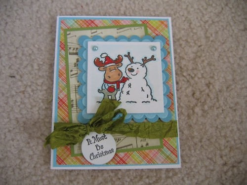 RILEY THE MOOSE AND SNOWMAN FRIEND CHRISTMAS HANDMADE CARD