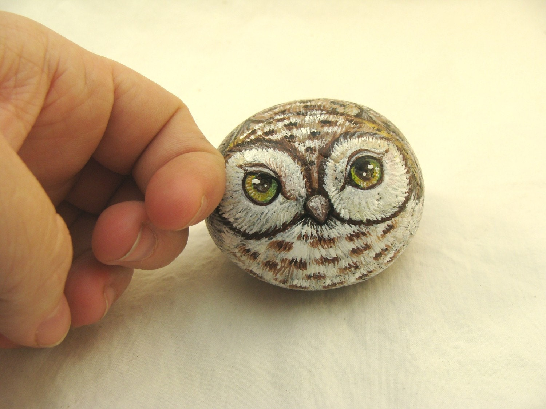 Painted Rocks brown owl woodland creature by PaintedRocksbyShelli