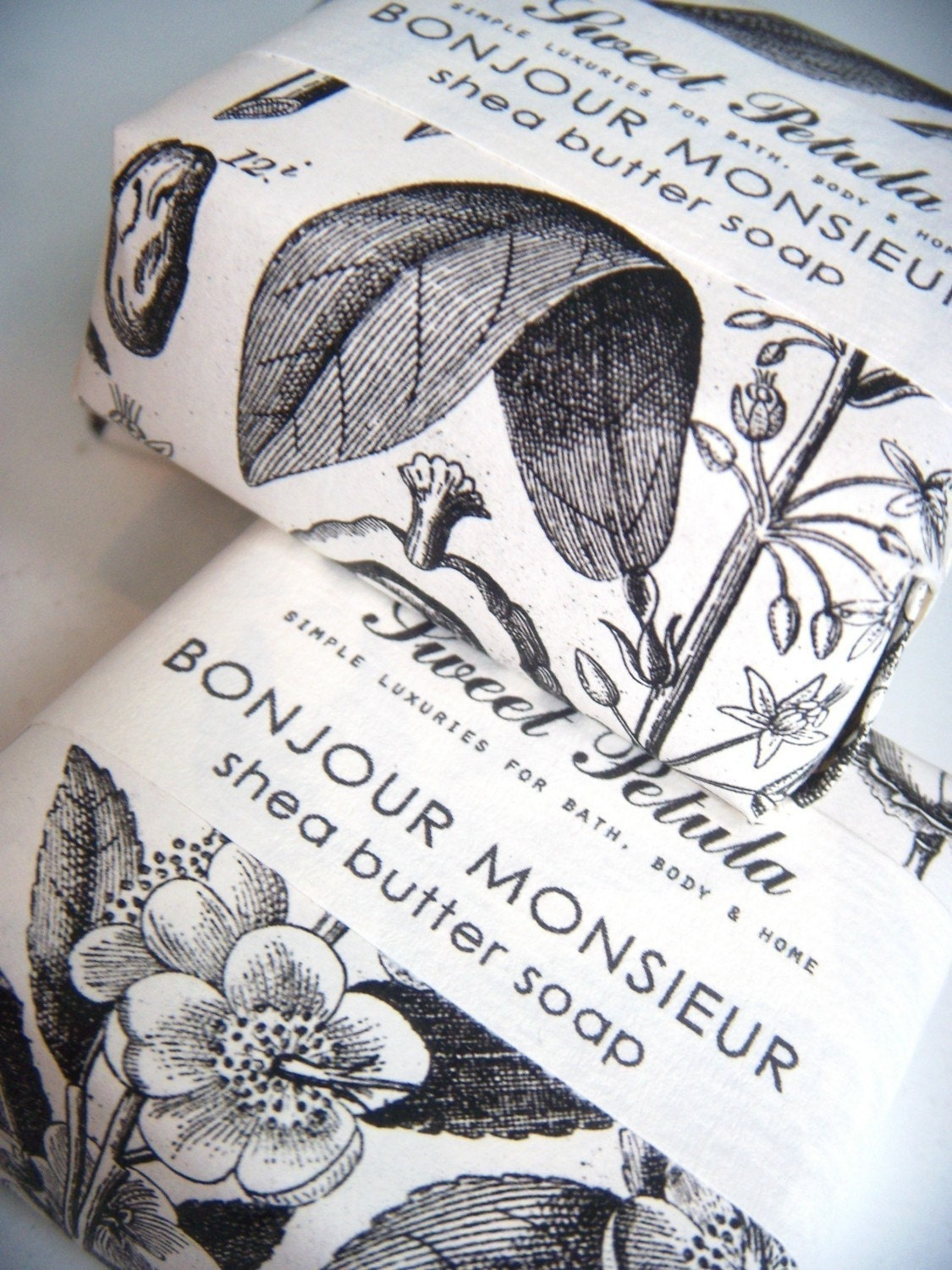 Bonjour Monsieur Shea Butter Soap - Black Tea, Tobacco, Cedar, Lemon, Bay and Clove- by Sweet Petula