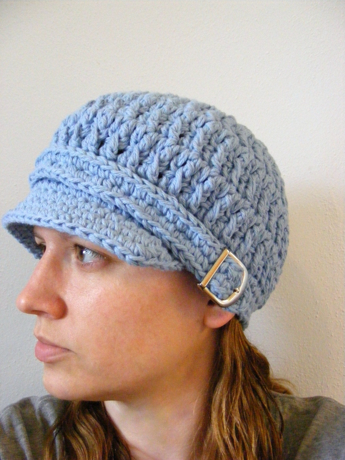 Womens Buckle Cotton Newsgirl/Newsboy Cap - Light Blue