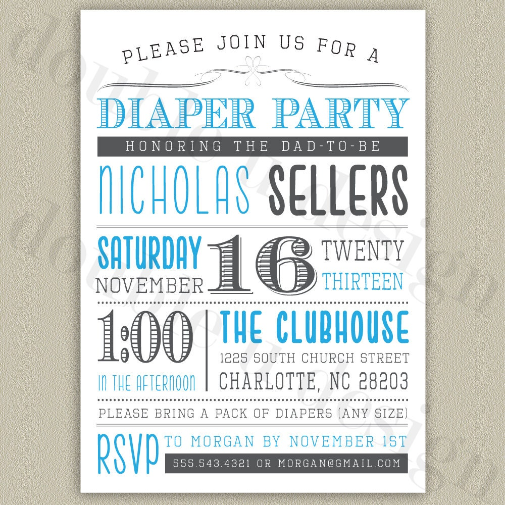 Free Printable Diaper Party Invitations