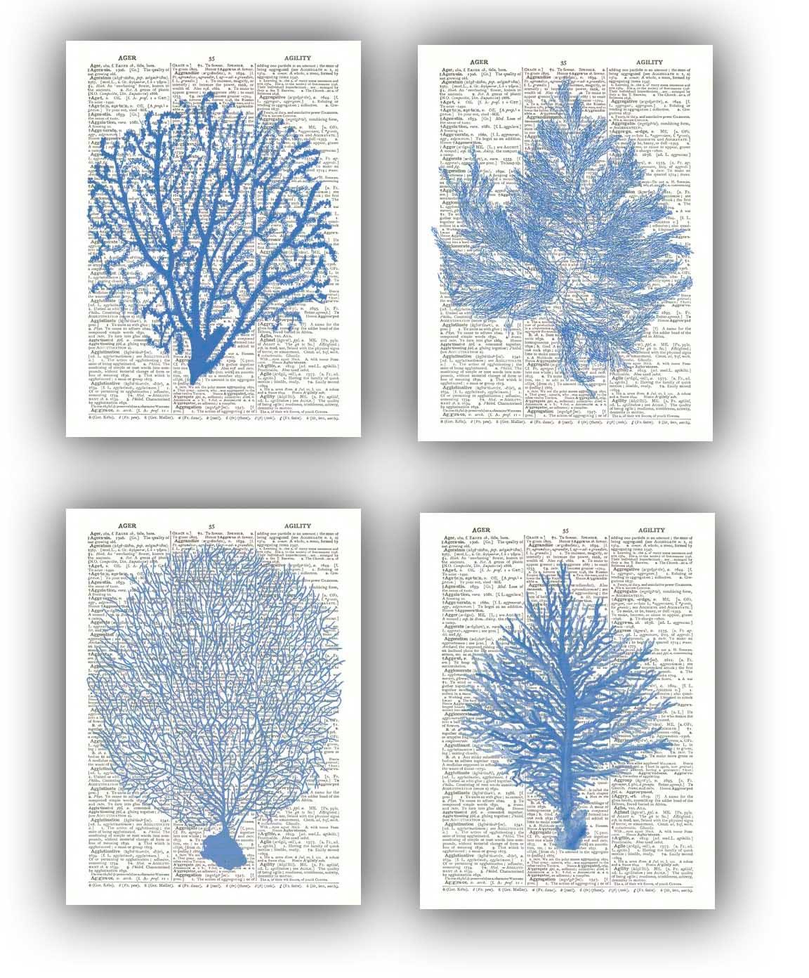 Cottage Bathroom Wall Decor : Seafan ocean blue prints sea fan grass coral by