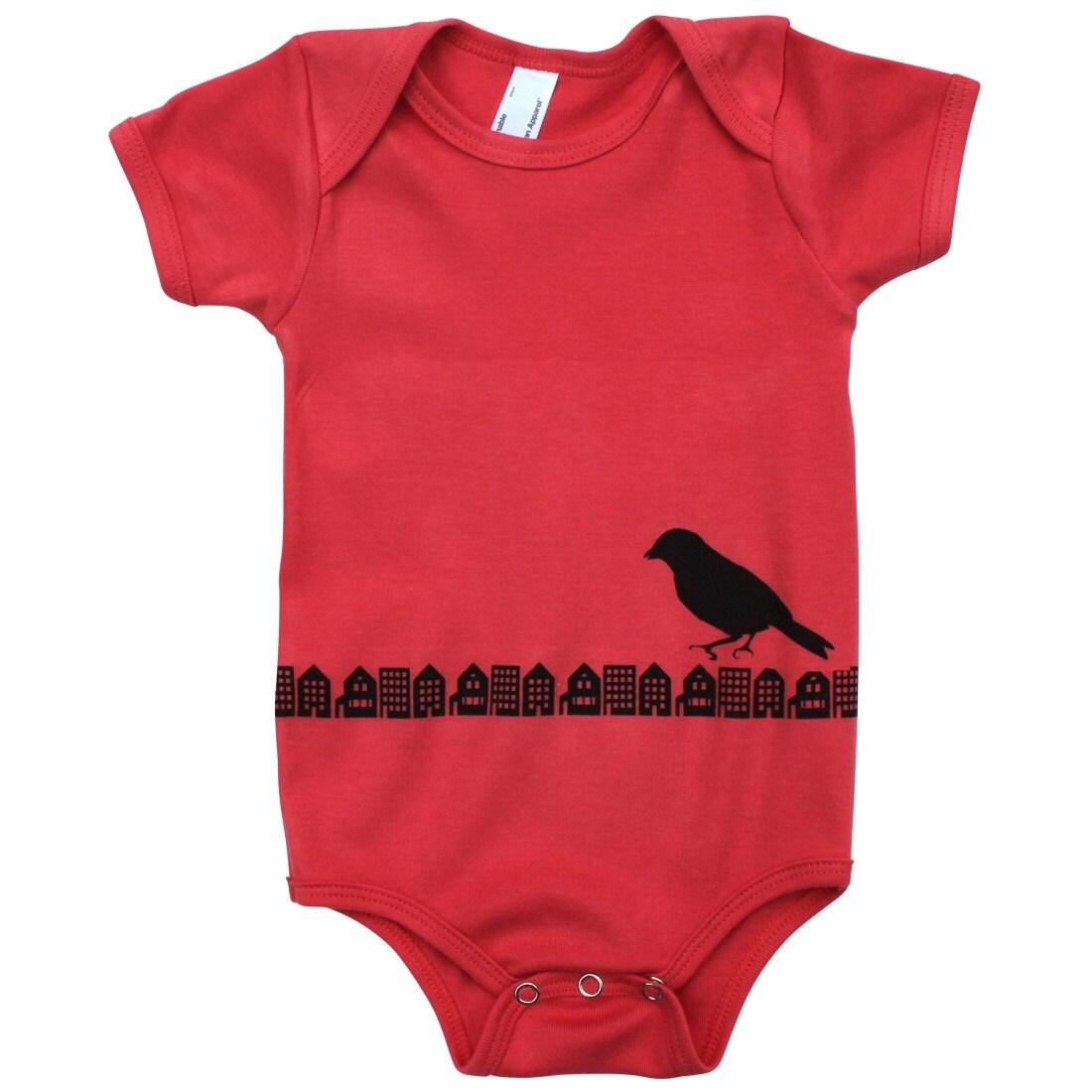 Brooklyn Gotham Bird Baby Onesie, Hand-Printed Lithograph, Organic Infant Bodysuit, 3-6 months