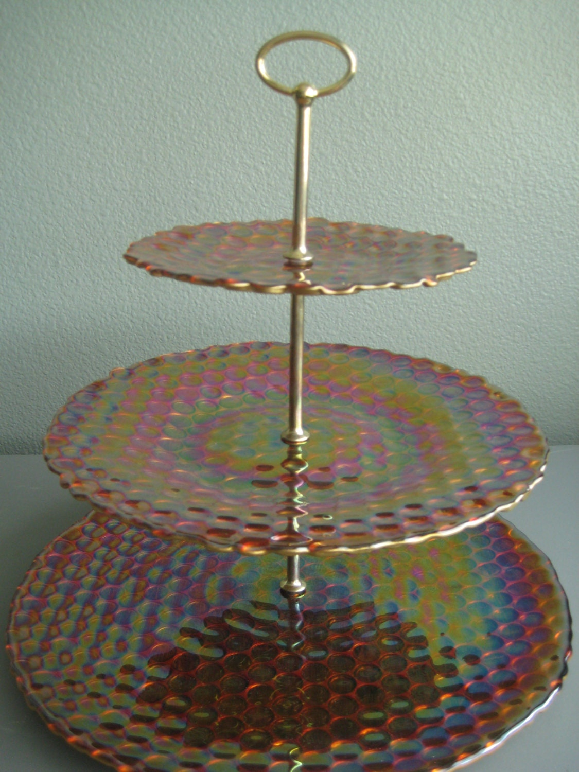 Beautiful large ornate three tiered by weddingdayfinds on etsy for Colored glass cake stand