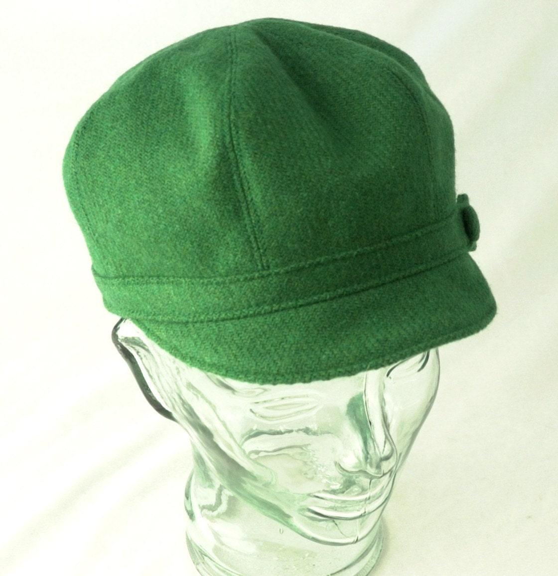 Vibrant Green Wool Newsboy Hat - Janis - M