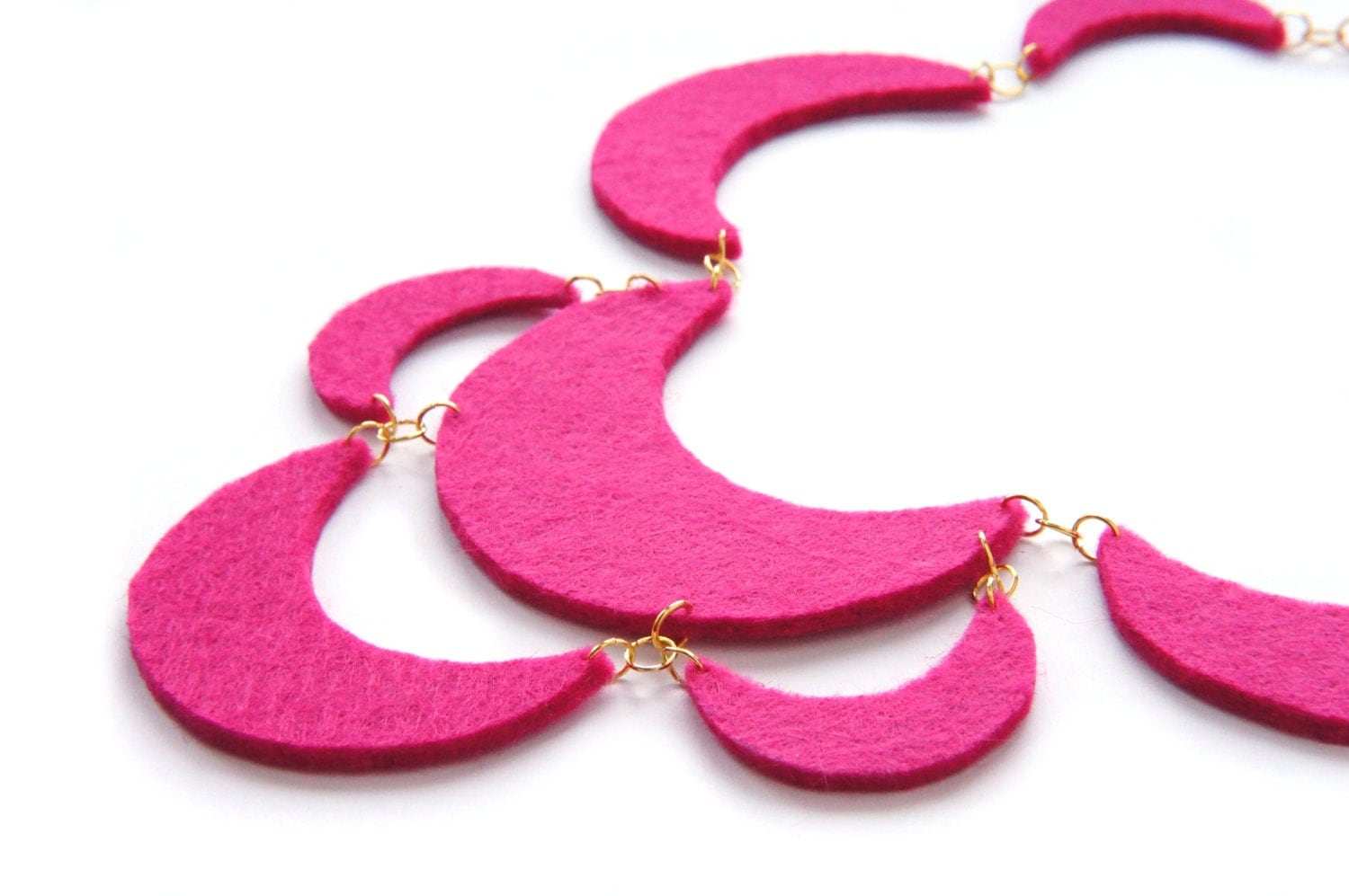 Felt Necklace, Pink necklace, Fuchsia necklace, Statement necklace, Christmas gift, For her - art2dress