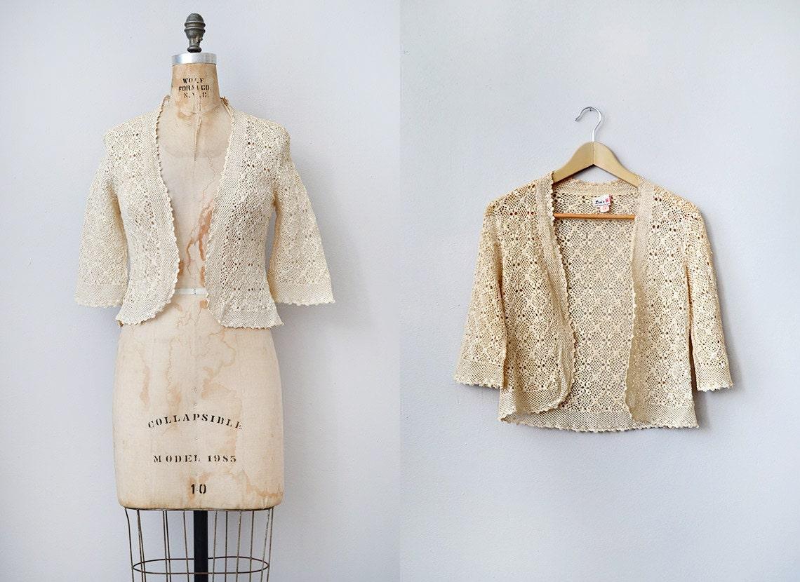 vintage 1970s crochet lace cardigan