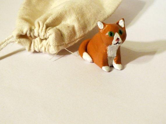 Orange Forest Cat Totem - handsculpted miniature