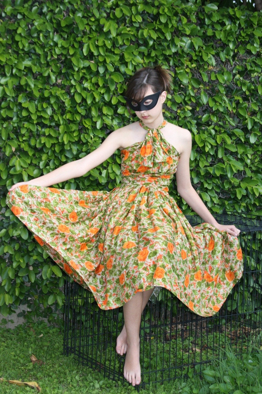 Vintage HALTER Dress SILK Green and Orange WATERCOLOR FLORAL