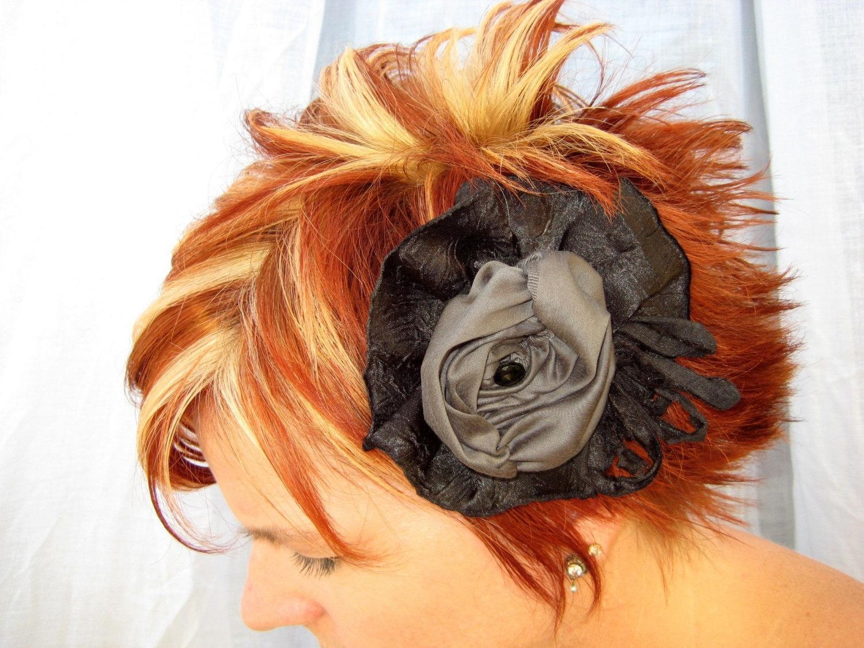 SJM404 Charcoal Rosette Brooch or Hair Clip