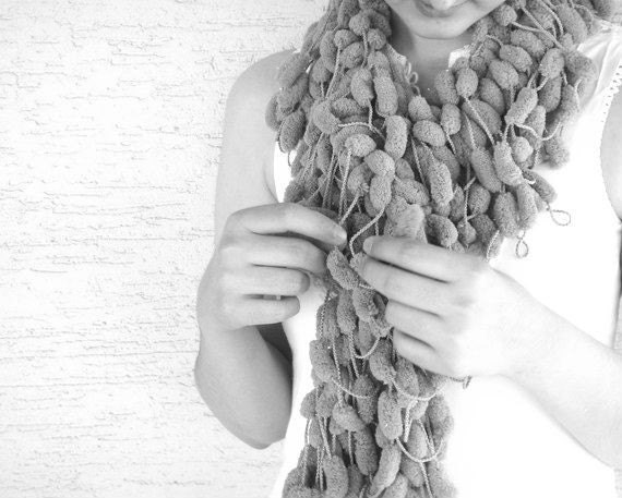 NEW Lilac Pompom Crocheted Scarf - Christmas