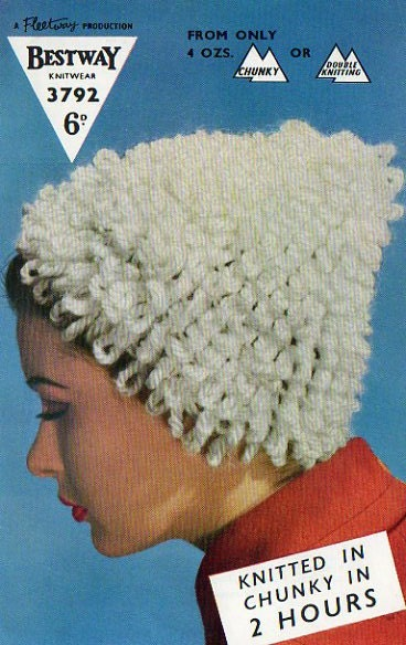 Weird Knitting Patterns : 1950s Unusual Loop Hat Knitting Pattern INSTANT by tinpotlil
