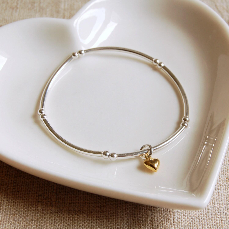 Sterling Silver Bracelet with Tiny Gold Heart Charm (BRA108)  Bridesmaid Birthday Anniversary Wedding Christmas Valentines Gift