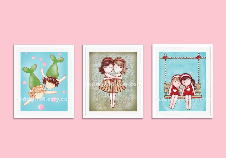 Baby girl nursery decor print childrens wall art by rkdsign88 for Baby girl nursery paintings