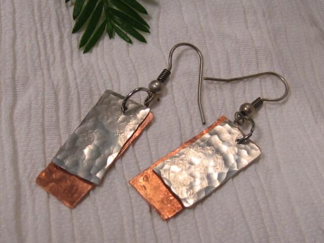 Handmade Copper and Nickel Silver Earrings