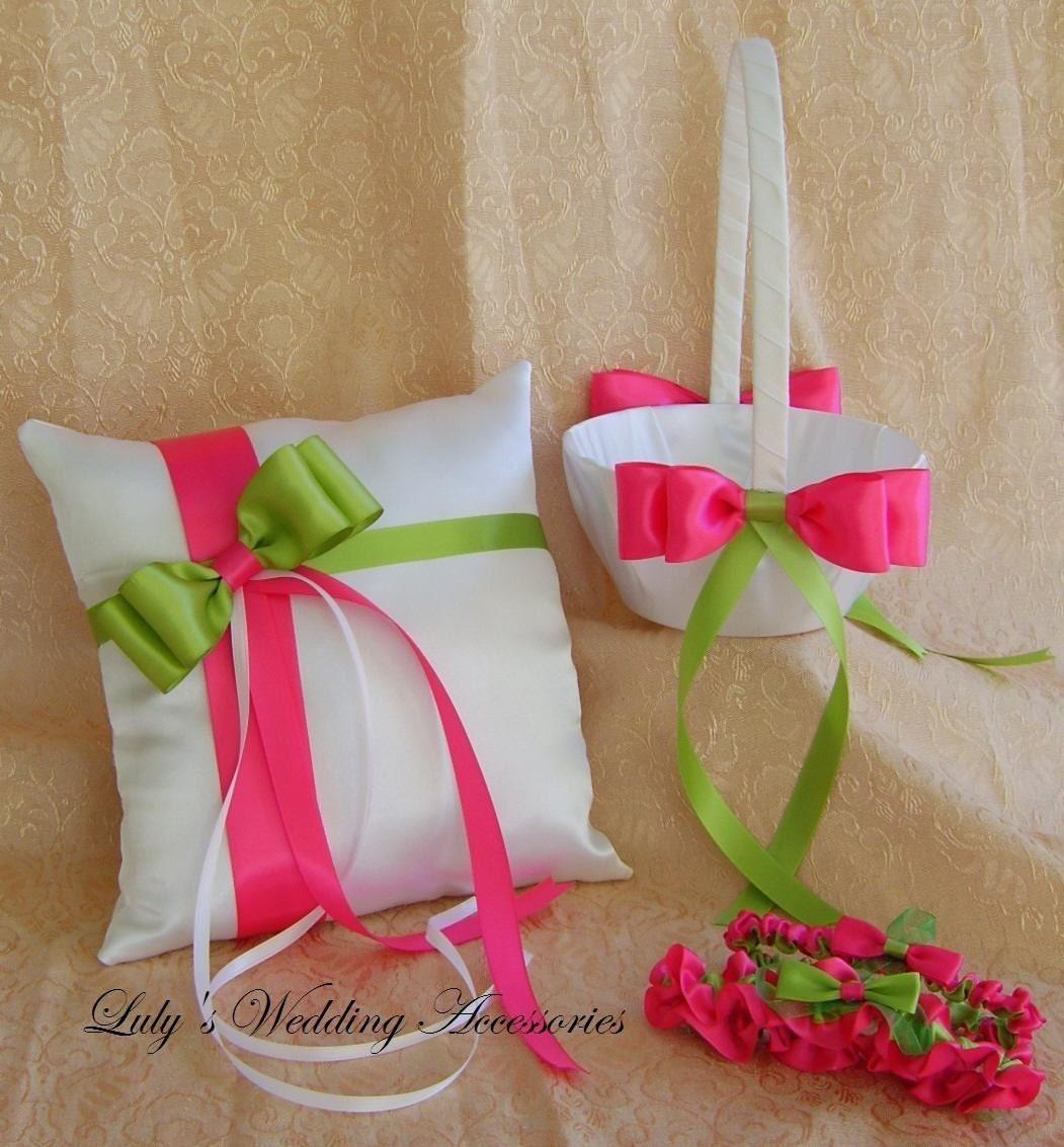 Hot pink and lime green wedding flower girl basket and ring bearer hot pink and lime green wedding flower girl basket and ring bearer pillow set fotofuze mightylinksfo