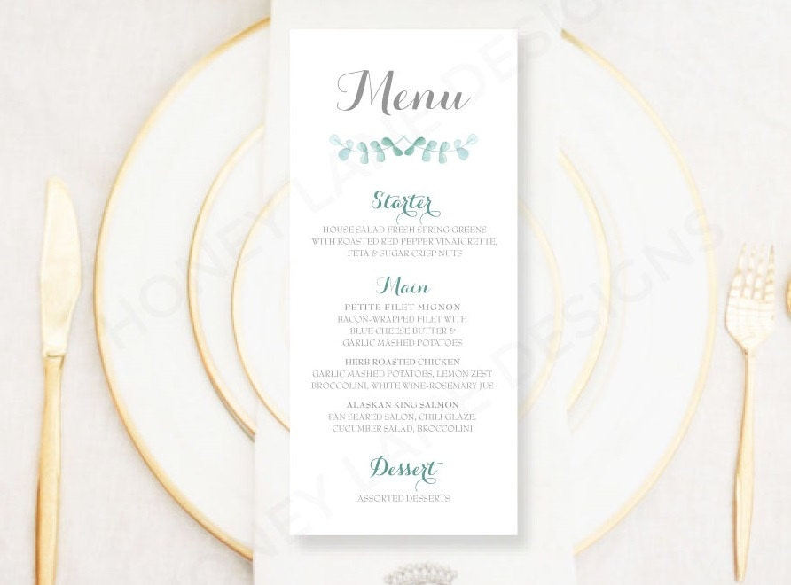 Personalised Printable Wedding Menu Card Green Floral Collection  WCB71