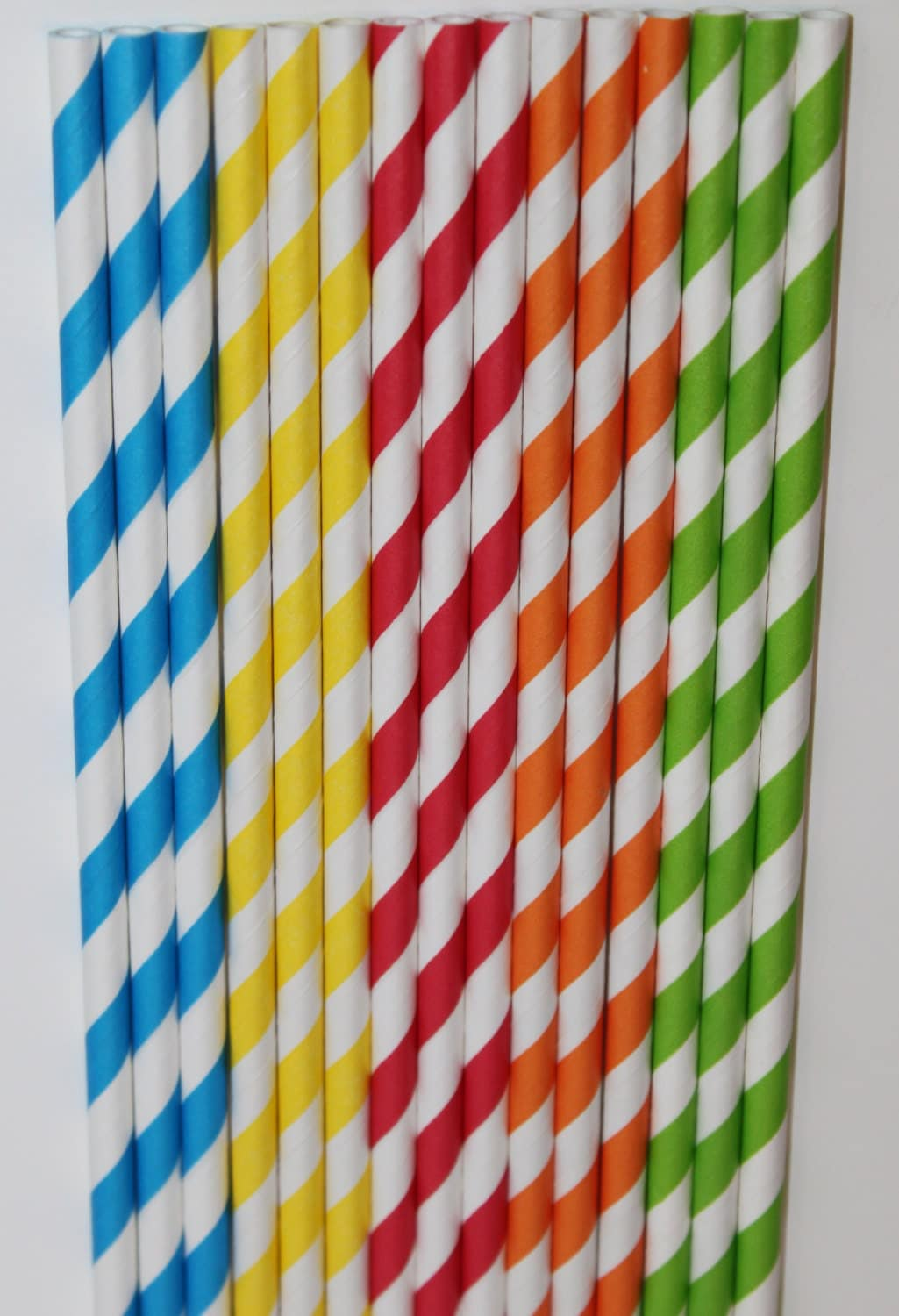 50 Sesame Street Inspired yellow green blue red orange Stripe straws paper straws birthday party cake pop sticks Bonus diy straw flags