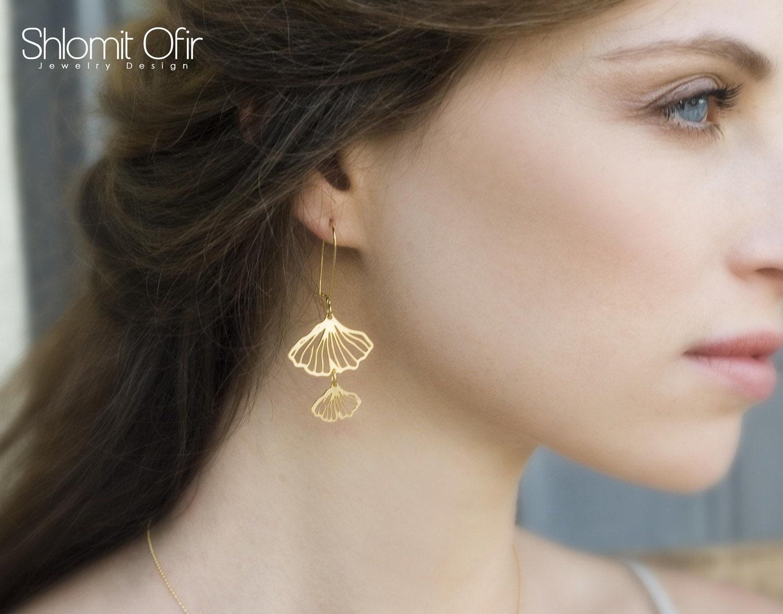 Gingko Earrings in Matte Gold
