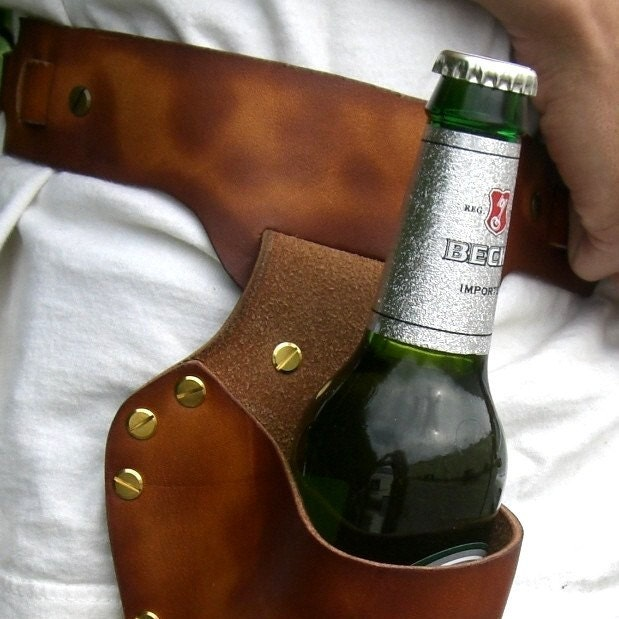 Custom Leather Beer Holsters
