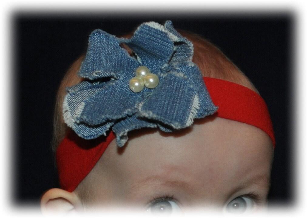 Beautiful Handmade Jean Denim Flower Clip Pearl Bead Center with Headband