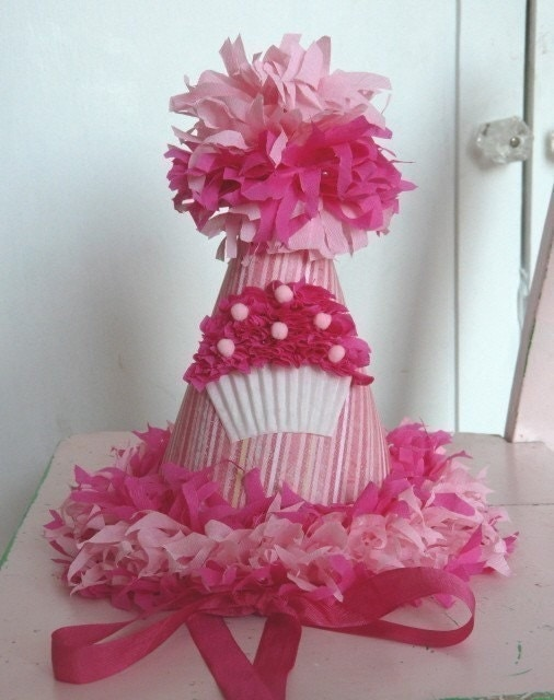 Custom Crepe Paper Cupcake Party Hat Bright/Hot Pink Birthday Girl You personalize