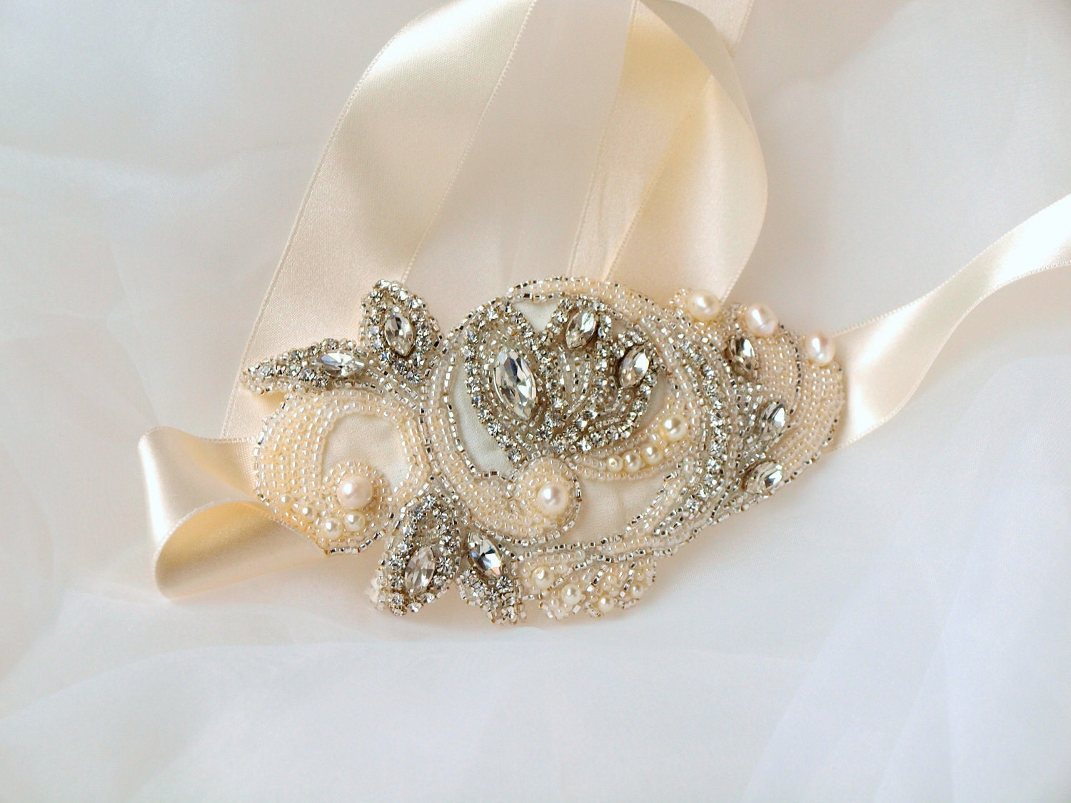wedding bridal head piece or sash, Lady Estelle  handembroidered head piece or sash
