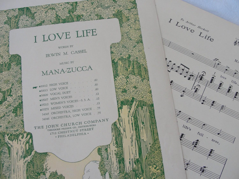 I Love Life words by Irwin M. Cassel - BarnshopAntiques