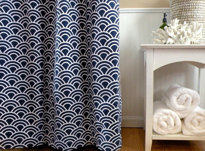 HALF Off SALE Shower Curtain Navy Blue Shower By Elisabethmichael