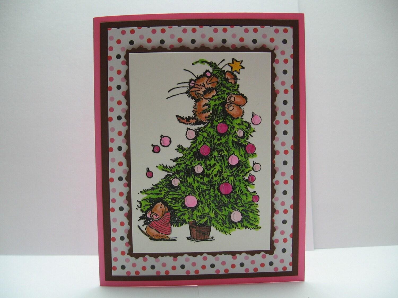 Pink Kitty Christmas Card