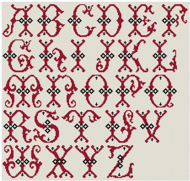 Large Letters Alphabet for cross stitch Monograms  PDF pattern