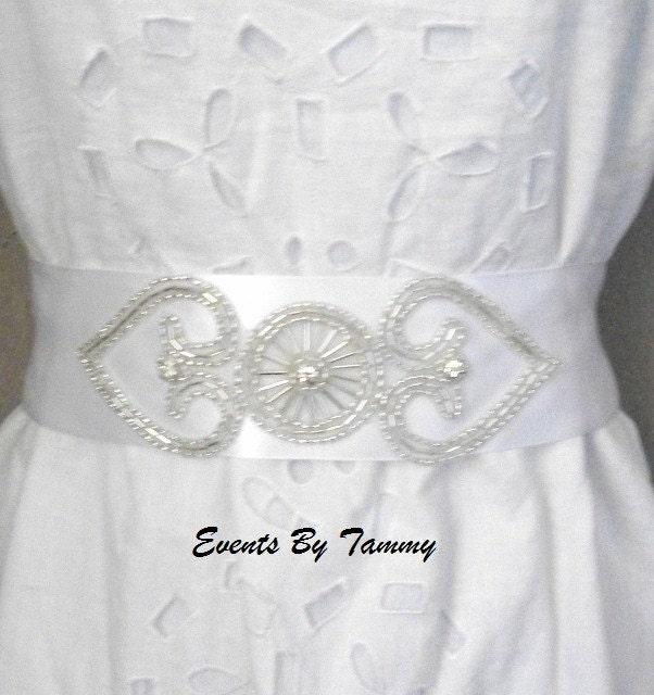 Heart Rhinestone and Silver Beaded Bridal Sash