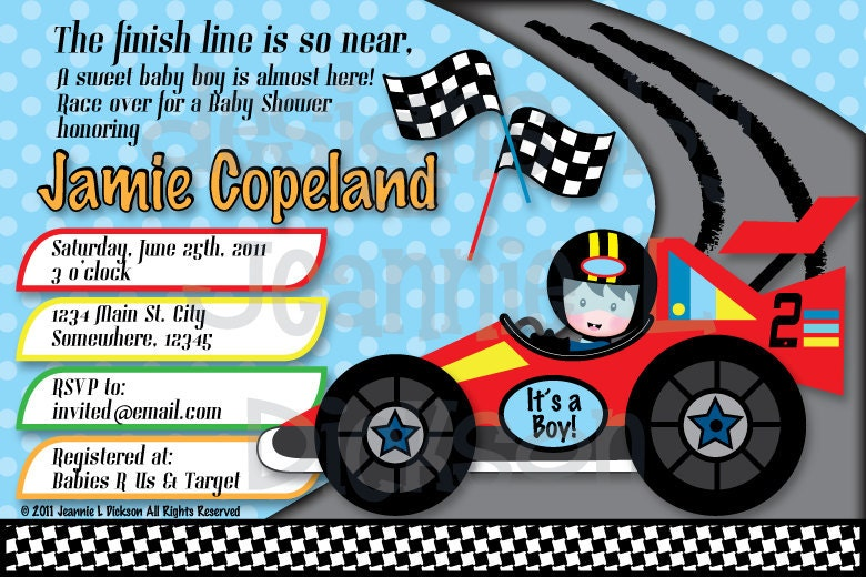 Racecar Boy Baby Shower or Birthday Invitation  by HoneyBops