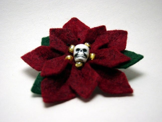 Skull Poinsettia of Doooom Pin Brooch