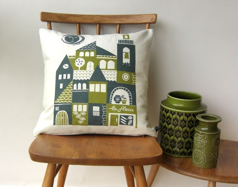 Siesta cotton canvas cushion in blue and olive
