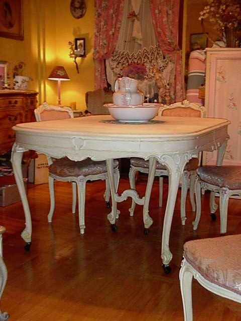Reserved vintage french dining room table by rustyrosepetals for Queen anne dining room