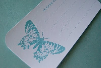 8 Hand Stamped and Heat Embossed Shipping Labels - Butterflies