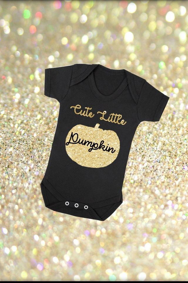 Cute Little Pumpkin First Thanksgiving Halloween Custom Colour Print Black Vest Bodysuit Onesie Glitter or Metallic