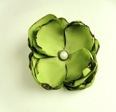 Chartreuse Fabric Flower Hair Clip Handmade, Green Fall Autumn Wedding Bridal Bridesmaids Gift for her, Simple