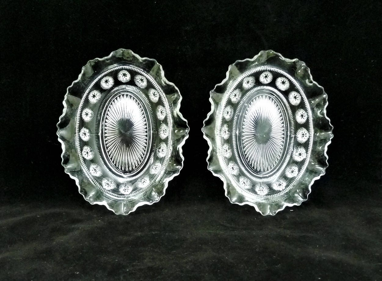 George Davidson Small Glass Bowls x 2 Blackberry Prunts Ruffle or Fluted Rim Bonbon Candy Clear Glass Scalloped Edge Homewares