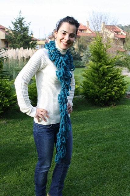 OCEAN Petrolium Blue Mulberry Scarf no 2 Cocoon Yarn by Ebruk