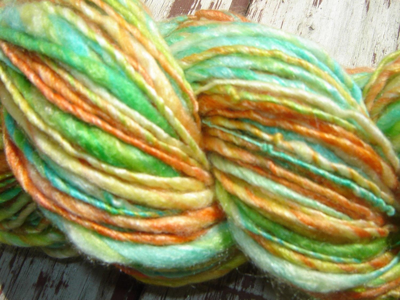 Handspun Merino / Silk / Bamboo Blended Yarn - Marmalade Sky - theKnitChix