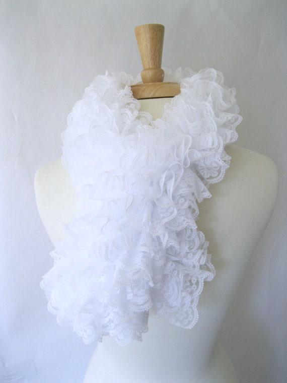 Elizabeth Tudor : Neck Ruff Scarf in Pure White - Inspired by Queen Elizabeth - Elizabethan Neck Ruff Lace Fashion Scarf Steampunk - HistoricalKnits