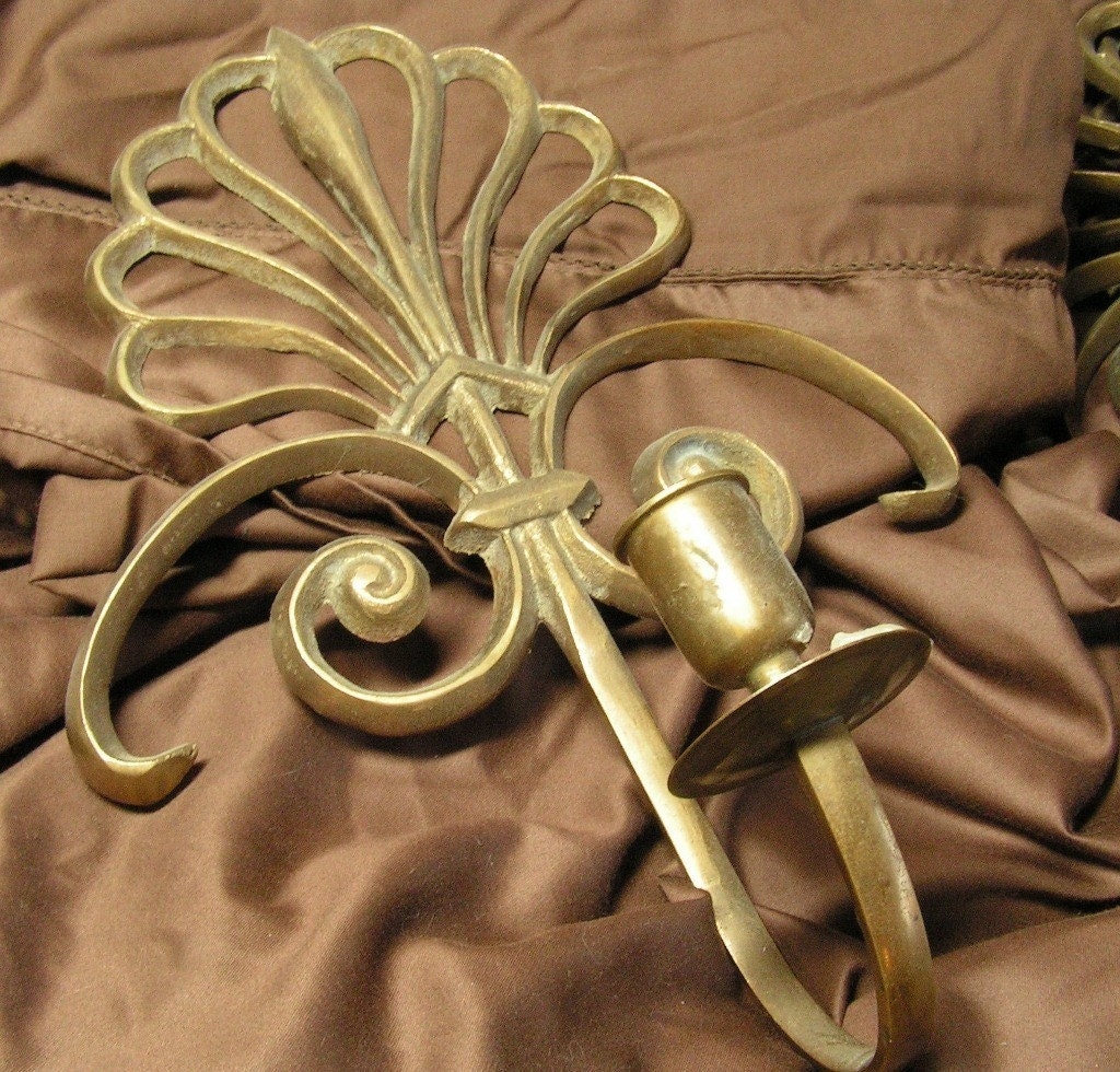 2 Brass Candle Wall Sconces by vintagecrapola on Etsy