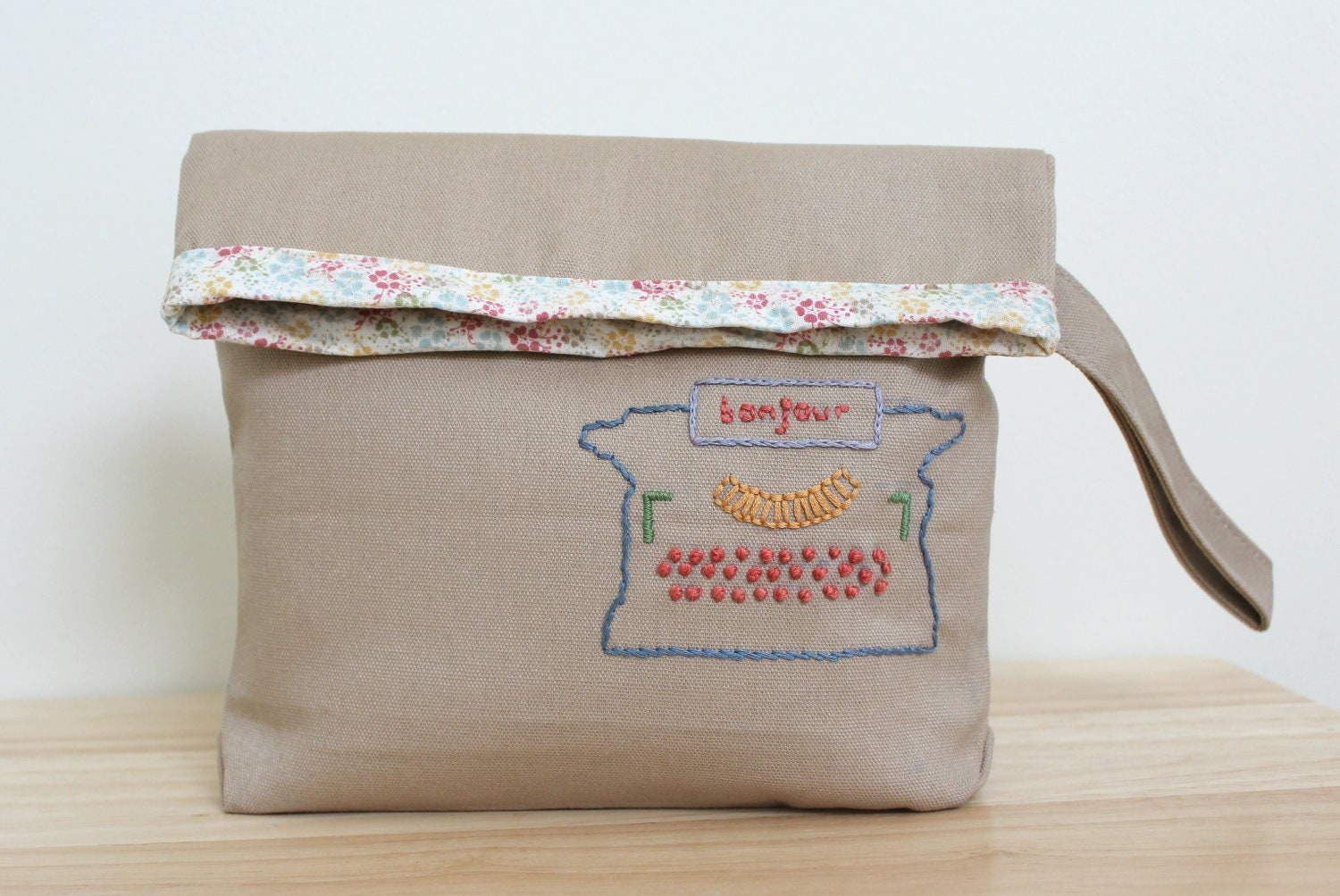Fold over clutch purse hand embroidered with vintage typewriter