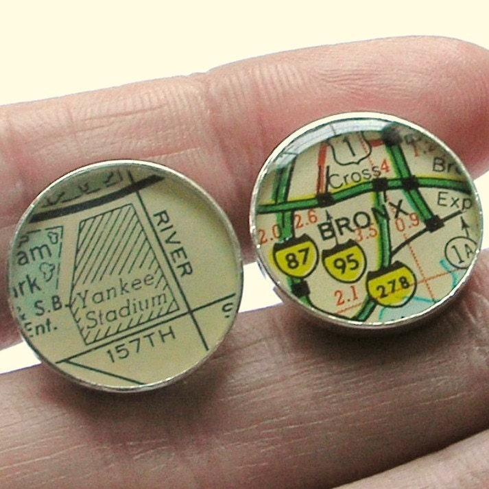 Vintage Street Map Sterling Silver Round Cufflinks. Yankee Stadium.