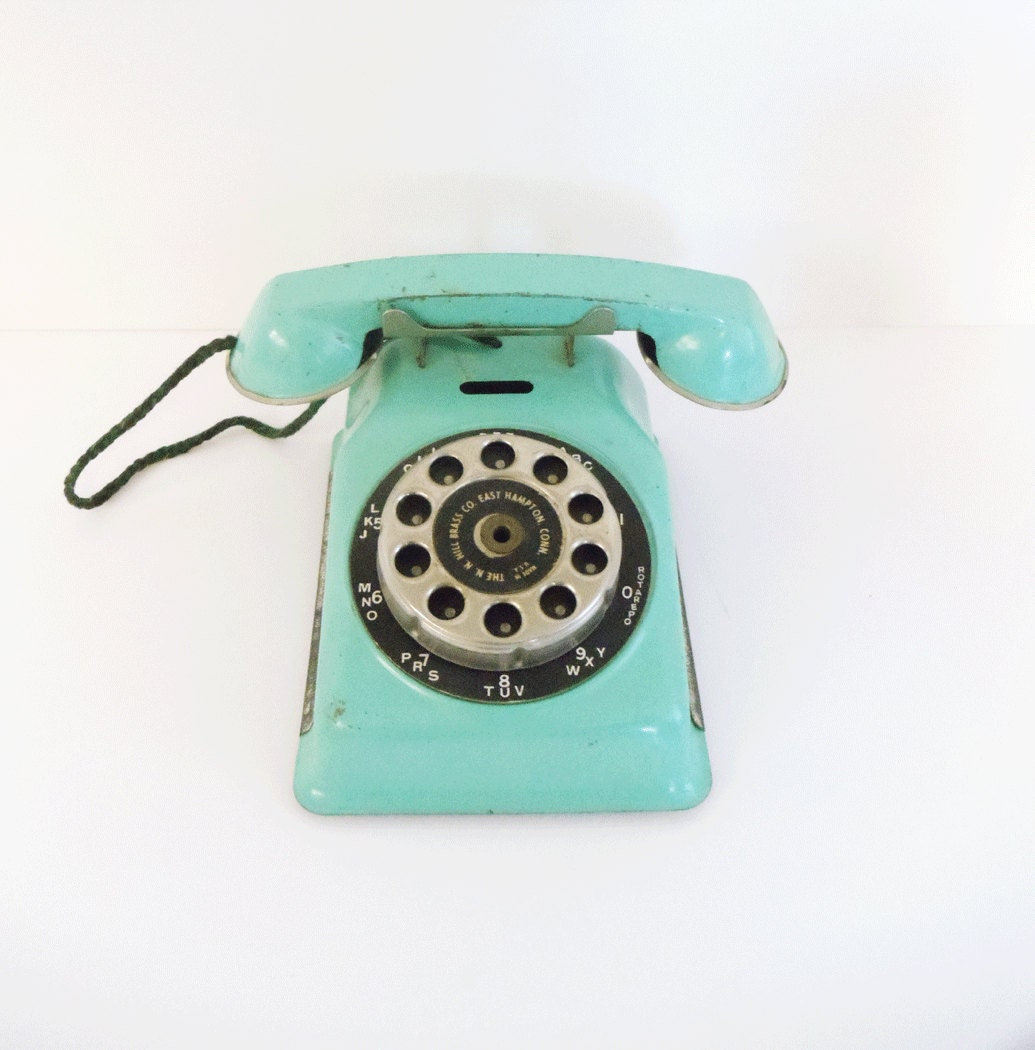 Vintage Tin Toy Rotary Telephone - Turquoise - N.N. Hill Brass Co. - Child's Room Decor