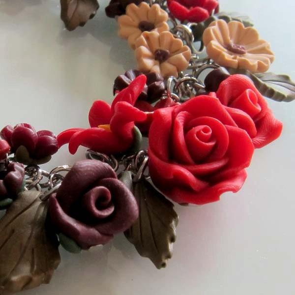 Midnight Blossom Bracelet - Polymer Clay